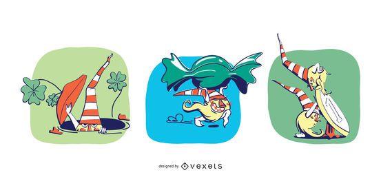 Ilustración de gnomos traviesos