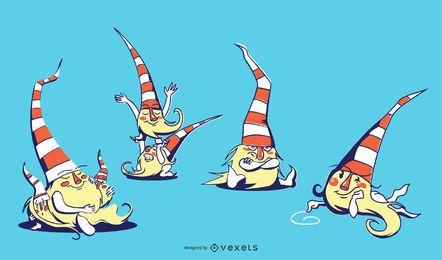 Cute Sitting Gnomes Ilustração