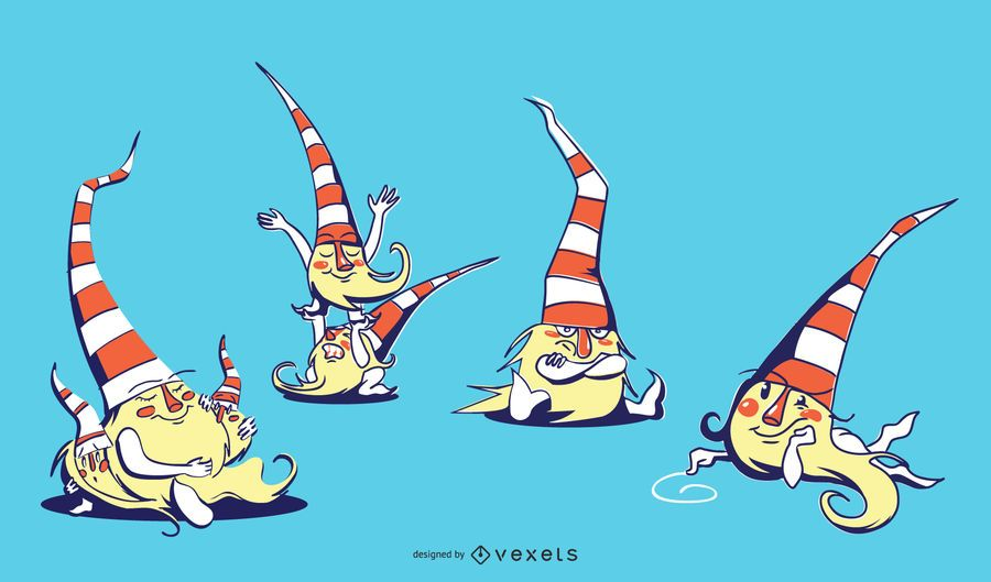 Cute Sitting Gnomes Illustration