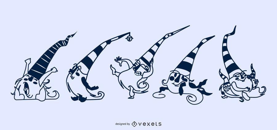 Gnomes In Line Posing Illustration