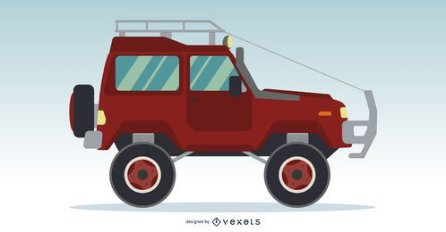 Jeep Truck Flat Design Vector