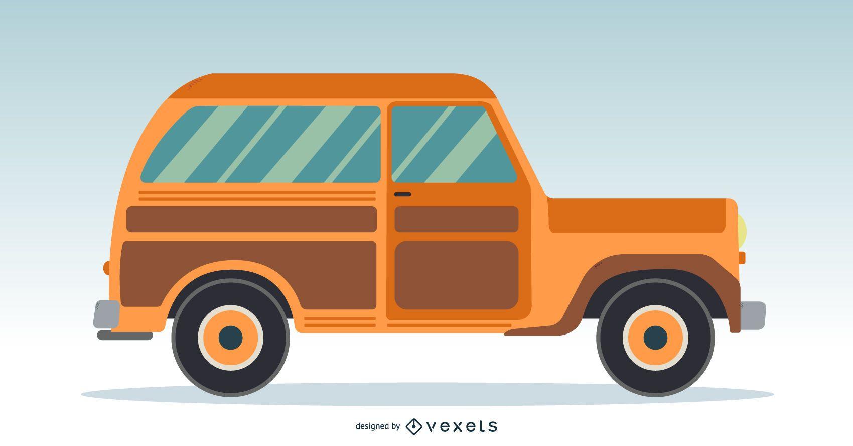 Orange classic car illustration