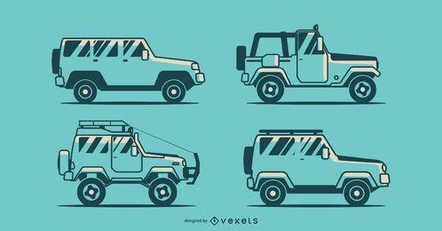 Paquete de vectores de camiones Jeep