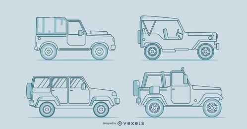 Conjunto de linha de carros clássicos
