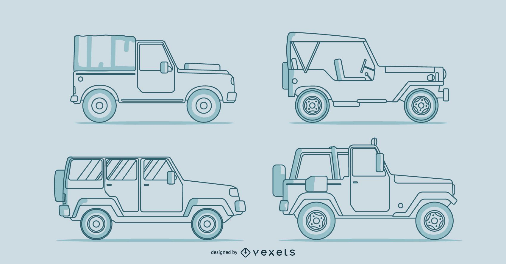 Conjunto de línea de coches clásicos.