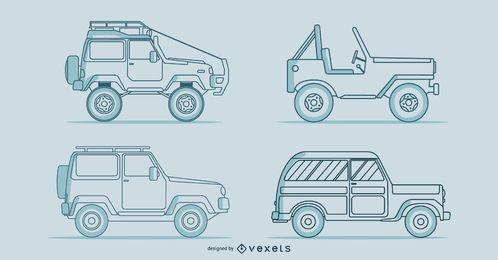 Conjunto de vetores de carros clássicos de linha