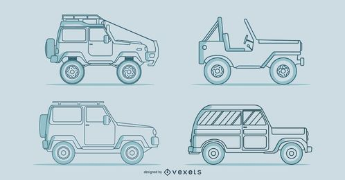 Line classic cars vector set