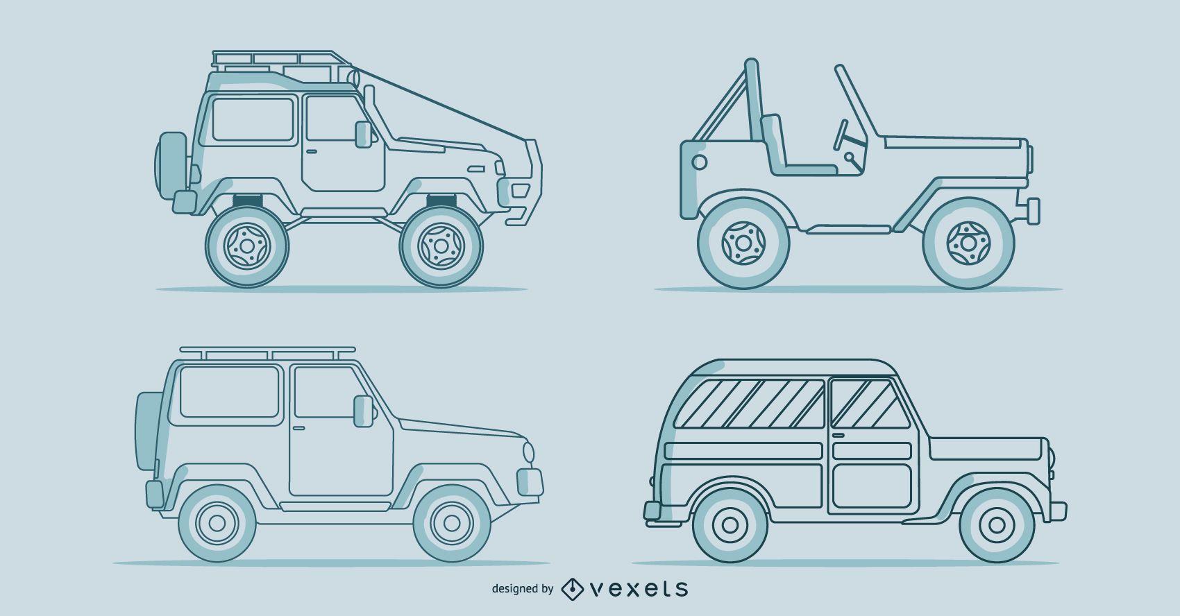 Line classic cars vector set