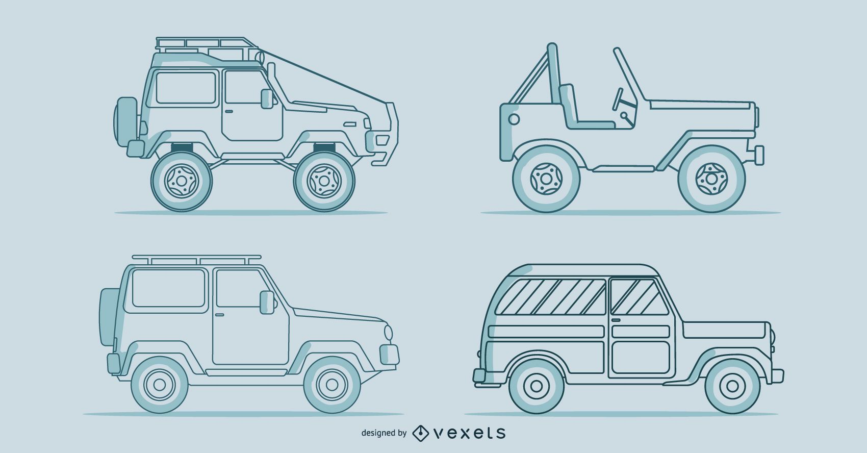 Línea conjunto de vectores de coches clásicos