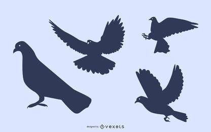 Conjunto de silueta de paloma