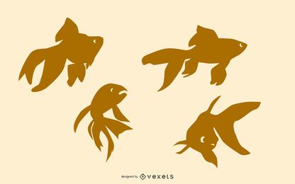 Conjunto de silhueta de peixinho