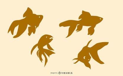 Goldfish silhouette set