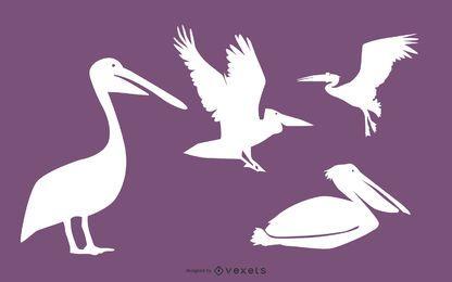Pacote de silhueta de pássaro pelicano