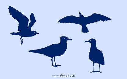 Seagull silhouette set