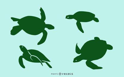 Conjunto de silueta de tortuga marina