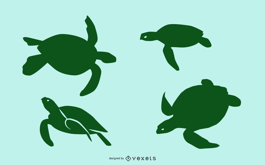 Sea turtle silhouette set