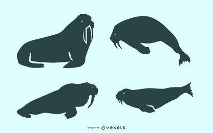 Walrus silhouette set