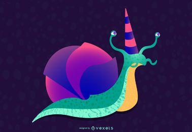 Projeto de ilustração de caracol de aniversário