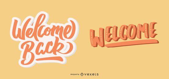 Bem-vindo de volta conjunto de letras