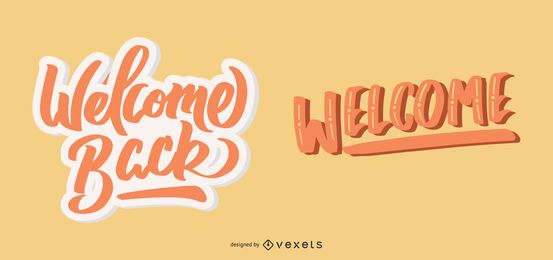 Welcome back lettering set