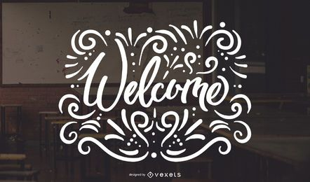Welcome swirls lettering design