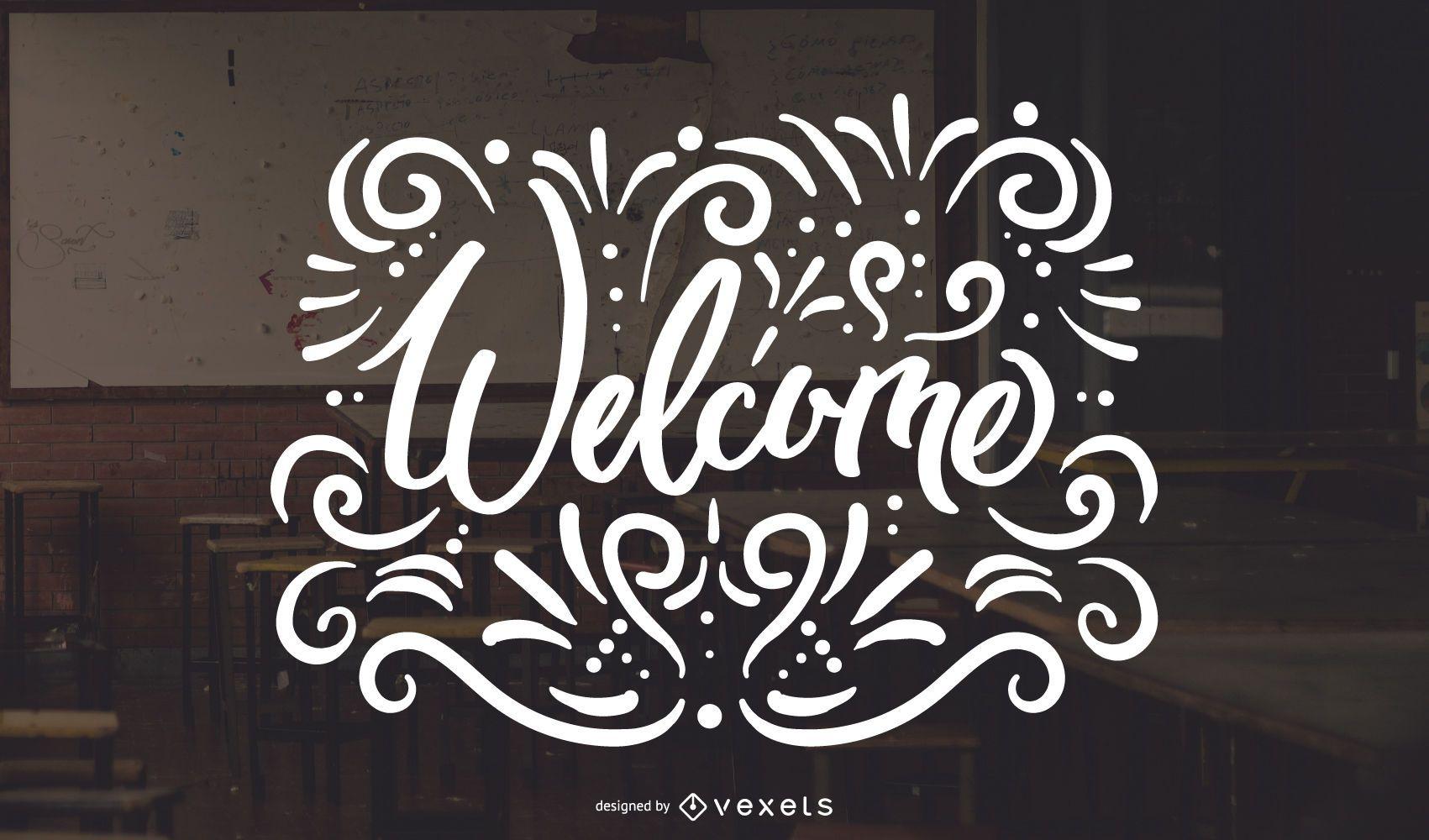 Welcome swirls lettering design
