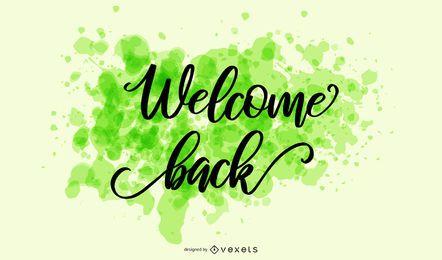 Willkommen zurück Splash-Schriftzug