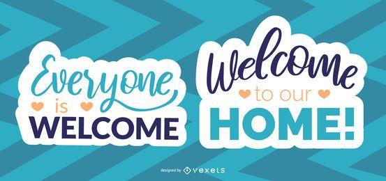 Bem-vindo a todos conjunto de letras