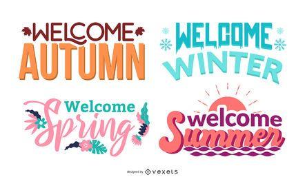 Conjunto de letras de temporadas de bienvenida