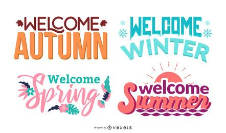 Willkommen Jahreszeiten Schriftzug Set