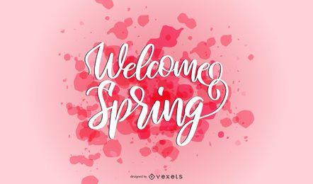 Bem-vindo Primavera respingo letras