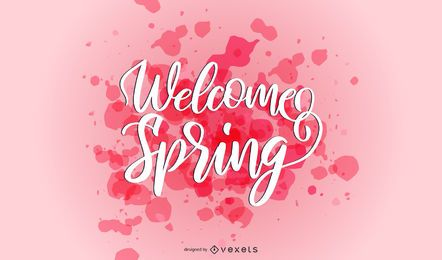 Welcome spring splash lettering