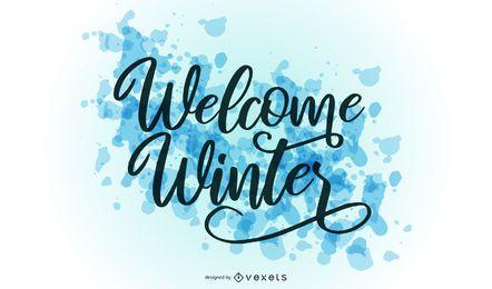 Bem-vindo letras de respingo de inverno