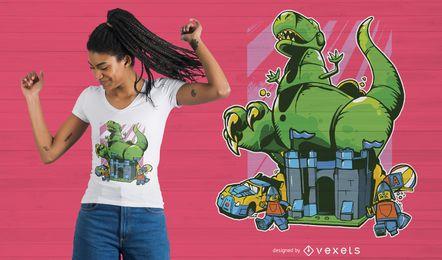 Diseño de camiseta de dinosaurio de dibujos animados