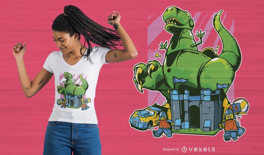 Projeto do t-shirt do dinossauro dos desenhos animados