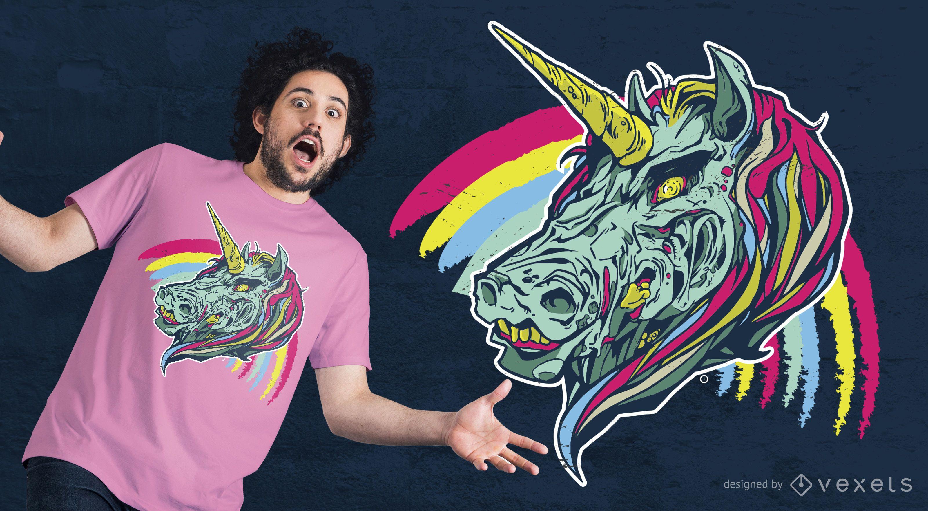 Diseño de camiseta de unicornio espeluznante