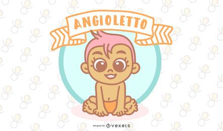 Angioletto Italian Baby Angel Vector Design