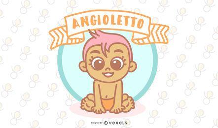 Projeto italiano do vetor do anjo do bebê de Angioletto
