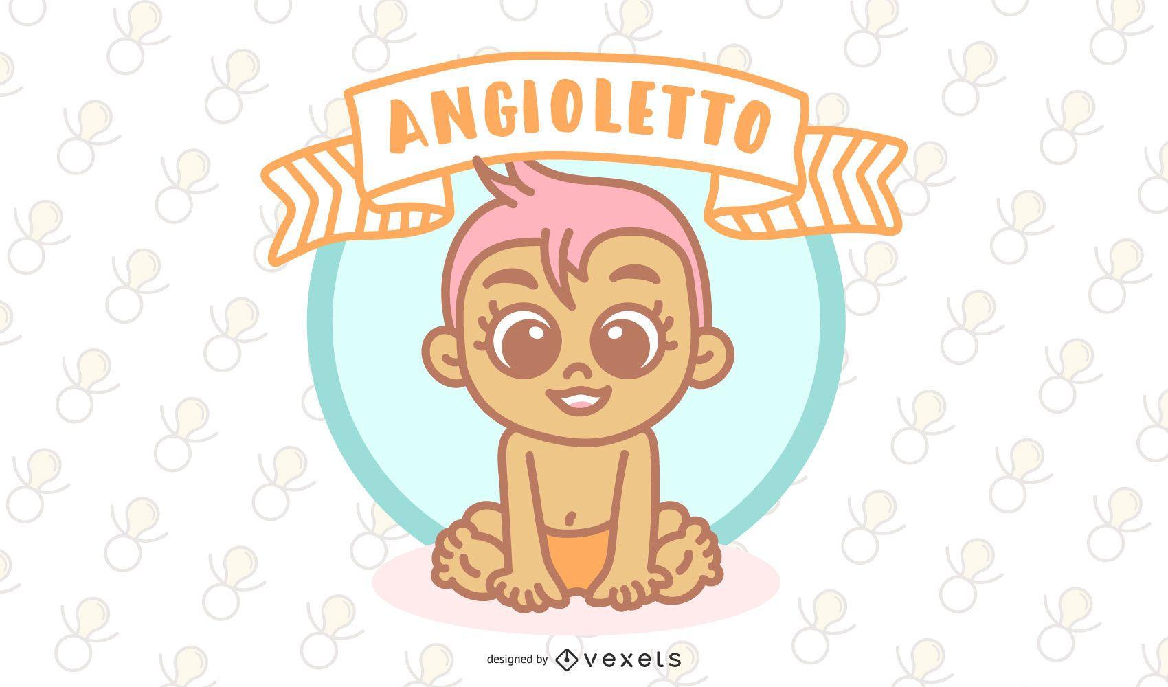 Angioletto Italian Baby Angel Vector Design