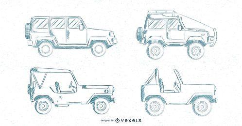 Conjunto de carros desenhados à mão