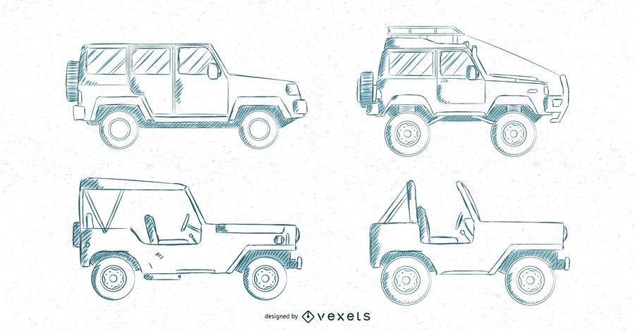 Hand drawn cars set