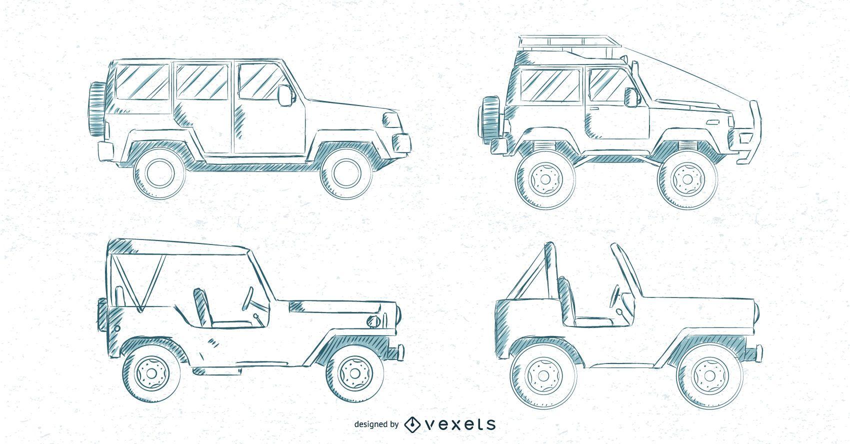 Conjunto de coches dibujados a mano
