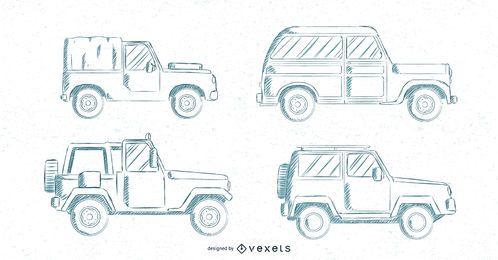 Carros clássicos mão desenhado conjunto