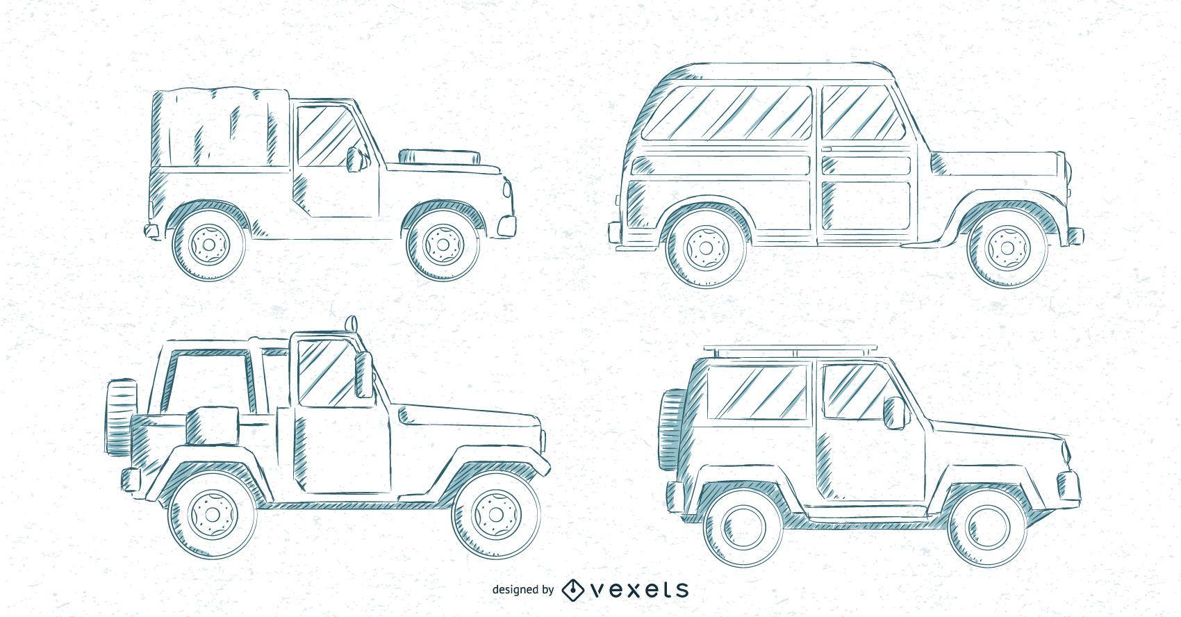Conjunto de coches clásicos dibujados a mano