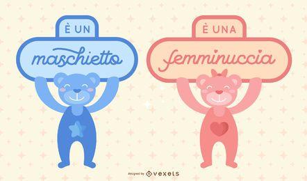 Nuevo paquete de letras italianas para bebés