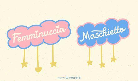 Conjunto de banner italiano con letras de bebé