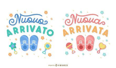 Conjunto de banner de letras italianas de bebé nuevo
