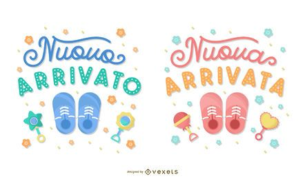 Novo bebê italiano letras conjunto de Banner