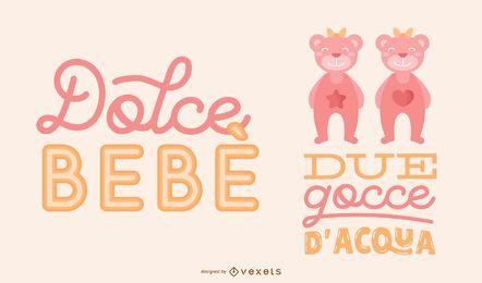 Conjunto de banner de letras italianas de niña gemela
