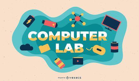 Ilustración de tema de laboratorio de computación